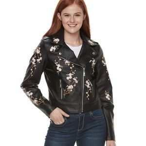 Jackets & Blazers - LAST ONE! Floral EMBROIDERED Leather MOTO Jacket